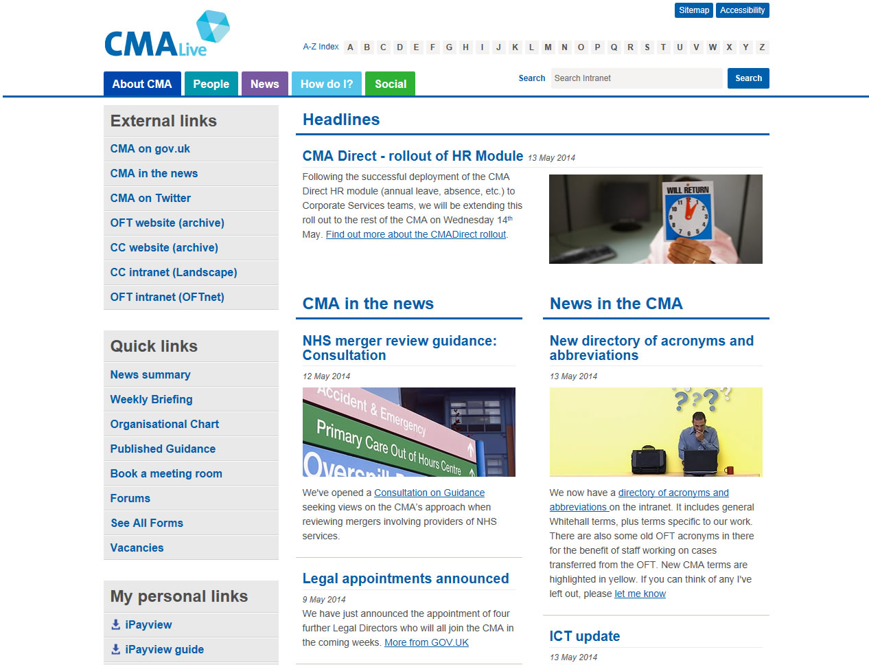 Competition and Markets Authority intranet homepage screenshot