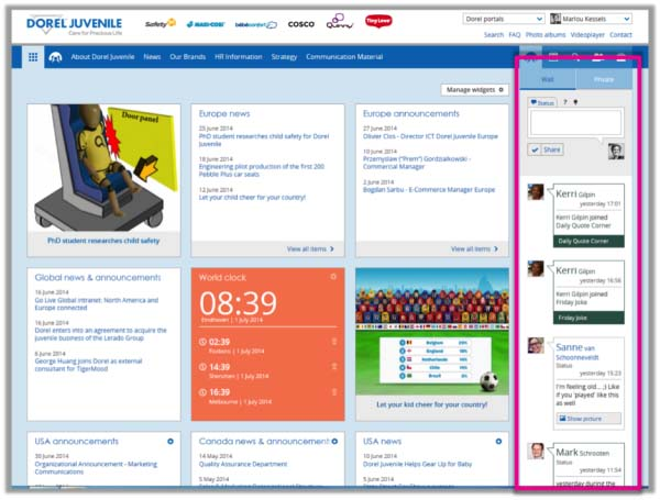 dorel juvenile intranet homepage social screenshot - Intranet Design Ideas