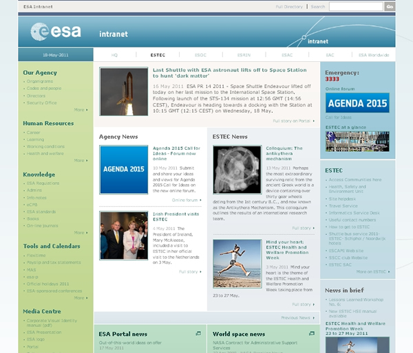 ESA intranet homepage