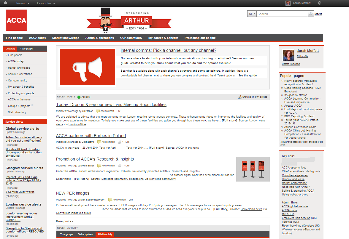 ACCA's social intranet homepage screenshot