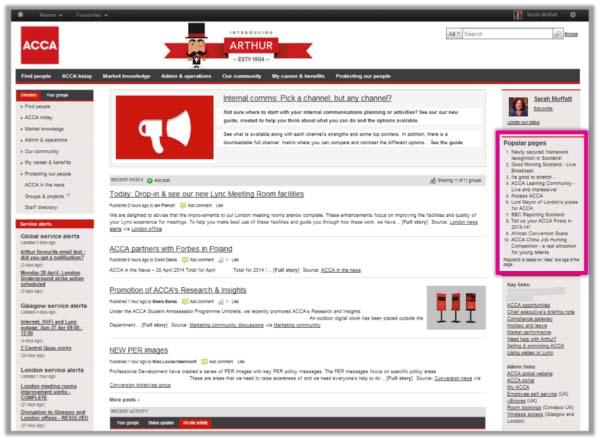 ACCA intranet homepage social screenshot
